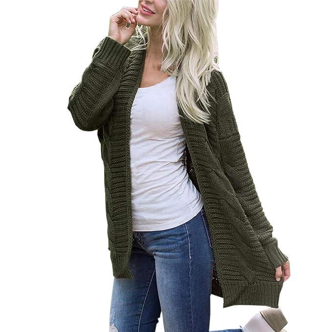 Abrigos de otoño Invierno, Dragon868 Las Mujeres de Punto de Manga Larga Abierta suéteres Abrigos: Amazon.es: Ropa y accesorios