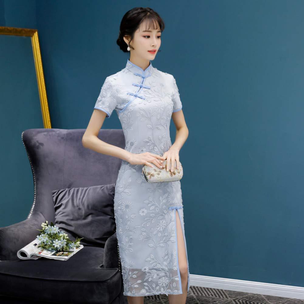 A2 L Qingxi Longue Section Fille Dentelle Cheongsam Robe Femelle atmosphère Digne Version améliorée de Lady Cheongsam
