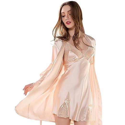 Aivtalk (Set/2 Piezas) Mujer Camisón Vestido Seda Encaje Pijama con Bata Ropa de Dormir de Escote en V Lencería - Talla M/L/XL 4 Colores a Elegir: ...
