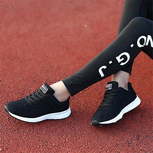 WXDZ Womens Walking Sneakers Sport Tennis Schuhe atmungsaktiv athletische Laufschuhe Schwarz