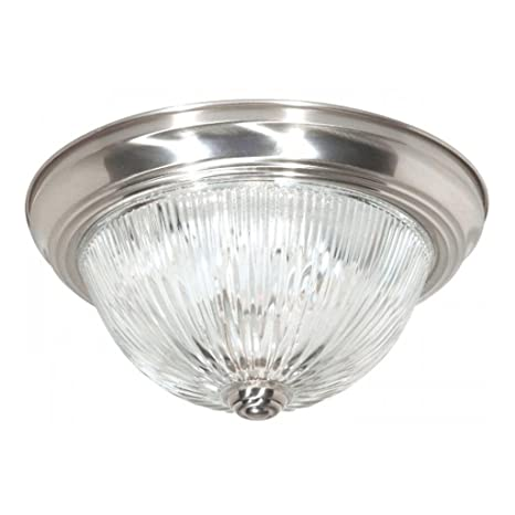 Nuvo Lighting 76/610 Two Light Flush Mount Brushed Nickel Finish with Clear Ribbed  sc 1 st  Amazon.com & Nuvo Lighting 76/610 Two Light Flush Mount Brushed Nickel Finish ...