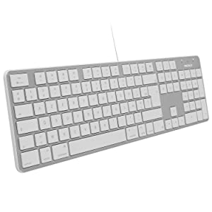 Macally Spanish Ultra-Slim USB Wired Keyboard with Number Pad (Espanol Teclado para Mac Alambrico USB y Con Teclado Numérico) for Apple Pro, MacBook Pro/Air, iMac, Mac Mini, Laptop/Desktop Computers