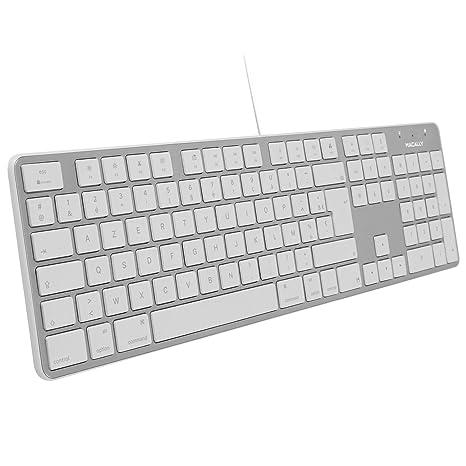 Macally Spanish Ultra-Slim USB Wired Keyboard with Number Pad (Espanol Teclado para Mac