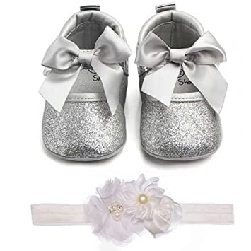 97c886ecd39db Lidiano Baby Girls Bowknot Sequins Bling Anti-Slip Mary Jane Flat Crib Shoes  & Headband