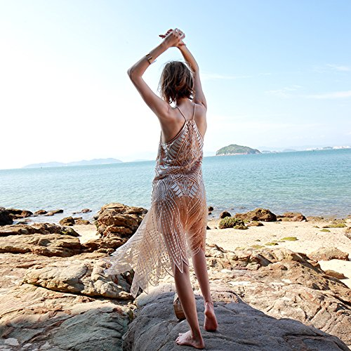 MeiZiZi De De Vestido Playa De gold Noche Casual Bordado Champagne Meizizivestido Vestido Encaje Vestido qntY4rxt