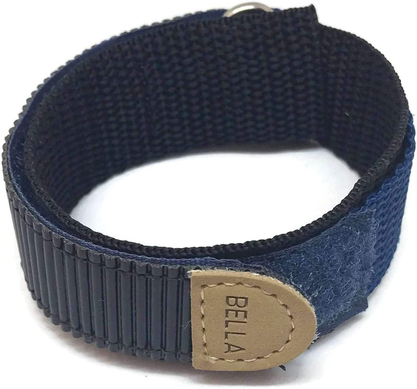 Hook and Loop Fabric Watch Strap 18mm Navy Blue with Stainless Steel Ring