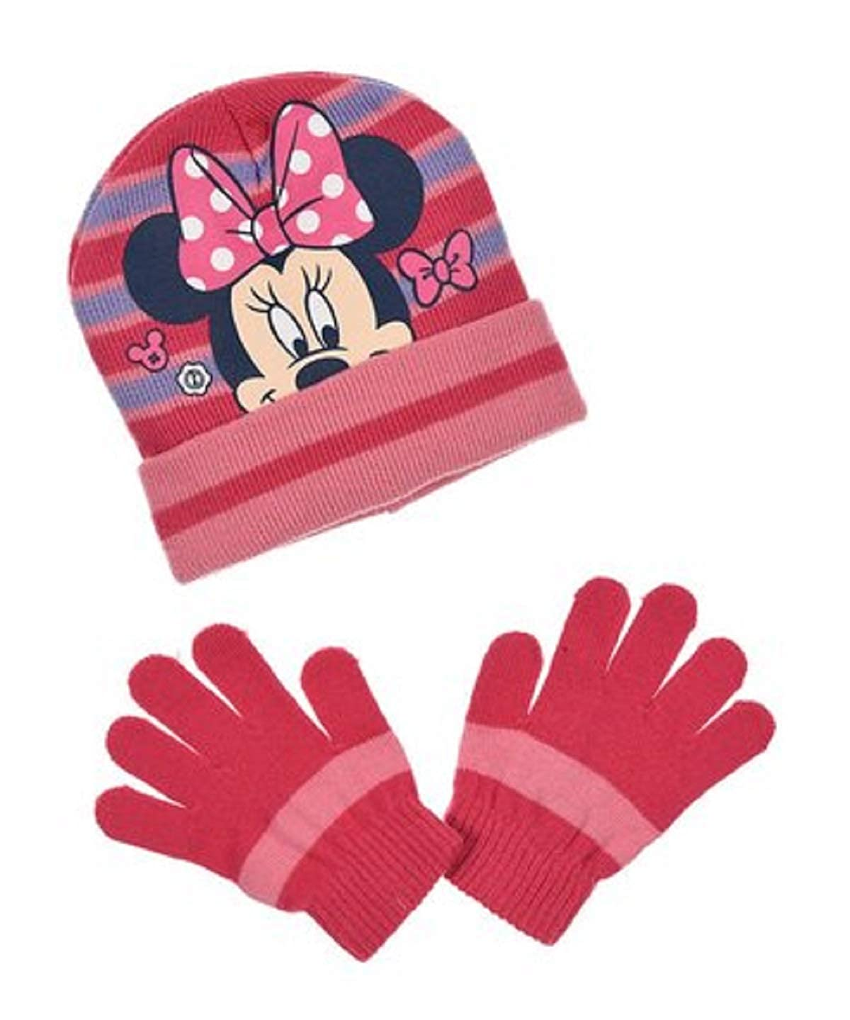 GIRLS MINNIE MOUSE HAT /& GLOVE SET 3-8 YEARS