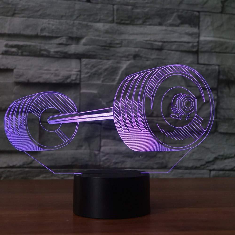 7 Farbwechsel 3D Led Kreative Barbell Form Home Schlaf Nachtlicht Usb GewicHöheben Tischlampe Gym Decor Sport Beleuchtung Geschenke
