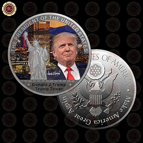 Buildent(TM) 1 Pc Gold Pr-es-id-en-t US Gold Plated Coin USA Tr-u-mp Tower The Statue of L-ib-er-ty Collection Business Gift [Silver Coin - Es Usa Collection