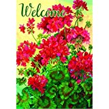 """""""Welcome Geraniums"""" – Summer – STANDARD Size, 28 Inch X 40 Inch, Decorative Double Sided Flag – Exclusively Made in the USA – Copyrights and Licensed by Custom Decor Inc.,Multi For Sale"""