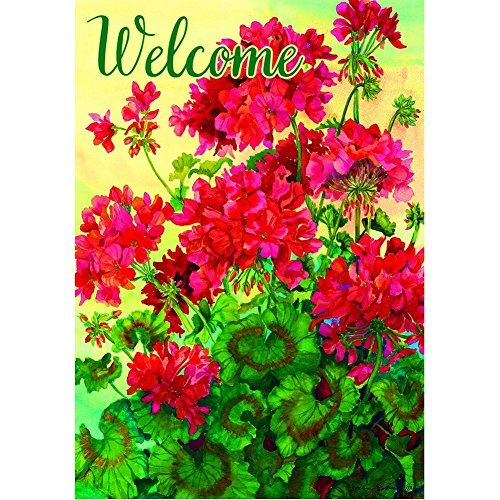 """Welcome Geraniums"" – Summer – STANDARD Size, 28 Inch X 40 Inch, Decorative Double Sided Flag – Exclusively Made in the USA – Copyrights and Licensed by Custom Decor Inc.,Multi For Sale"