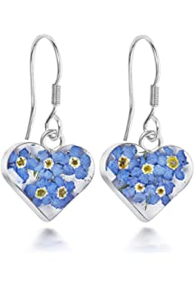 1a0cdf23e14ec Silver drop Earrings made with real forget-me-nots - Hearts ...