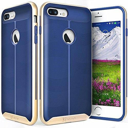 iPhone 7 Plus Case, Vena [vAllure] Wave Texture [Bumper Frame][CornerGuard Shockproof | Strong Grip] Slim Hybrid Cover for iPhone 7 Plus (5.5) (Gold/Navy Blue)
