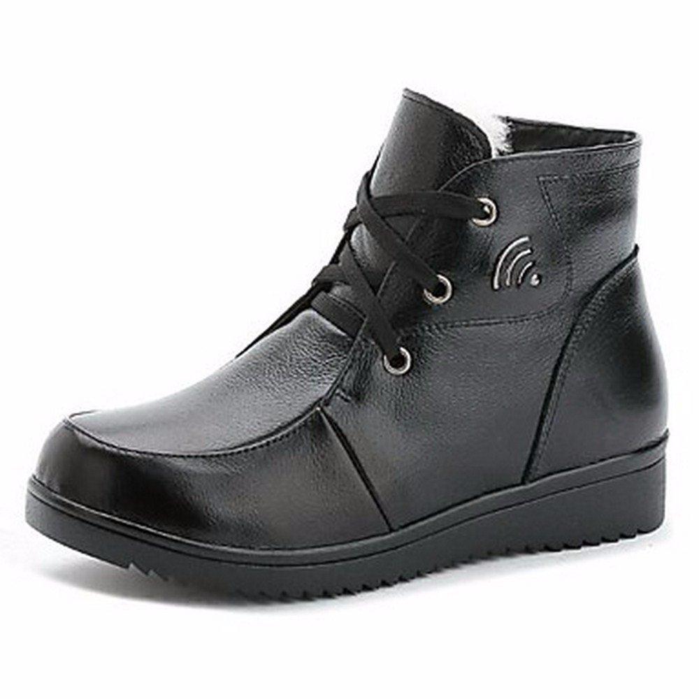 ZHUDJ Fabricada Con Cuero De Calzado Mujer Otoño Invierno La Nieve Botas Botas Chunky Talón Botines/Botines De Negro Casual US6 / UE36 / UK4 / CN36 Black