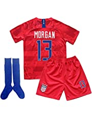 ALLSYY Alex Morgan #13 USA National Team 2019/2020 Season Kids Youth Sport T-Shirt & Shorts & Socks
