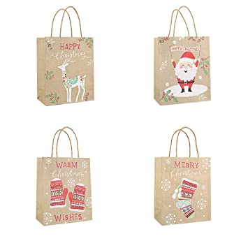 Amazon.com: Bolsas de regalo de Navidad de papel kraft de ...