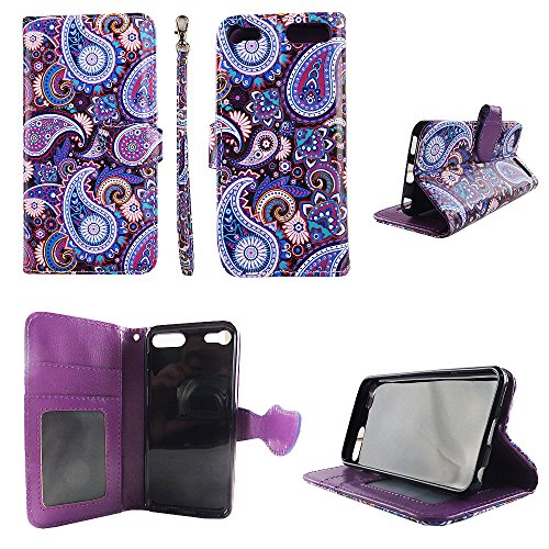 Purple Paisley Wallet Folio Case iPod Touch 6 6th Gen Fashion Flip PU Leather Cover Card Cash Slots & Stand