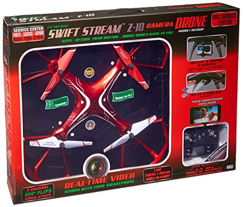 Swift Stream Indoor/Outdoor Z-10 Camera Drone, Red