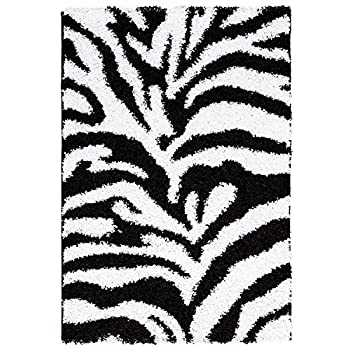 "Ottomanson Black, Ivory Animal Print Zebra Design High Pile Soft Shag Area Rug (X47""), 33"" x 47"", Black/White"