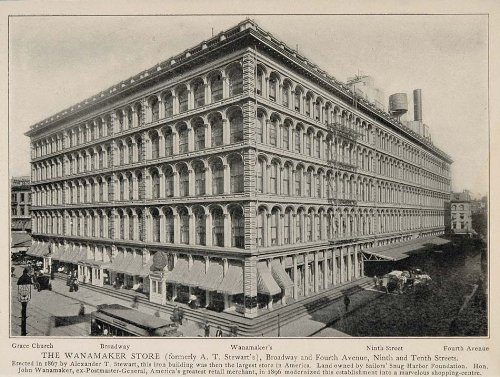1903 Wanamaker Department Store New York City NYC Print - Original Halftone - Nyc Broadway Stores On
