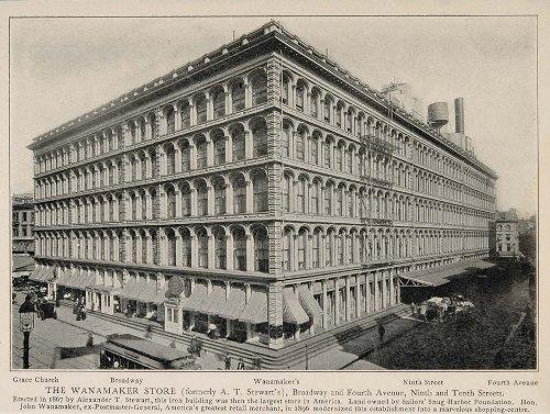 1903 Wanamaker Department Store New York City NYC Print - Original Halftone - Broadway Stores On Nyc