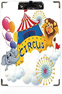 Circus Decor Letter Size Clipboard,Illustration of a Lion and an Elephant near the Circus Signage over Clouds Decorative Paper Holder,Personalized Office Gift for Coaches,Teachers,Medical,Student,Doct