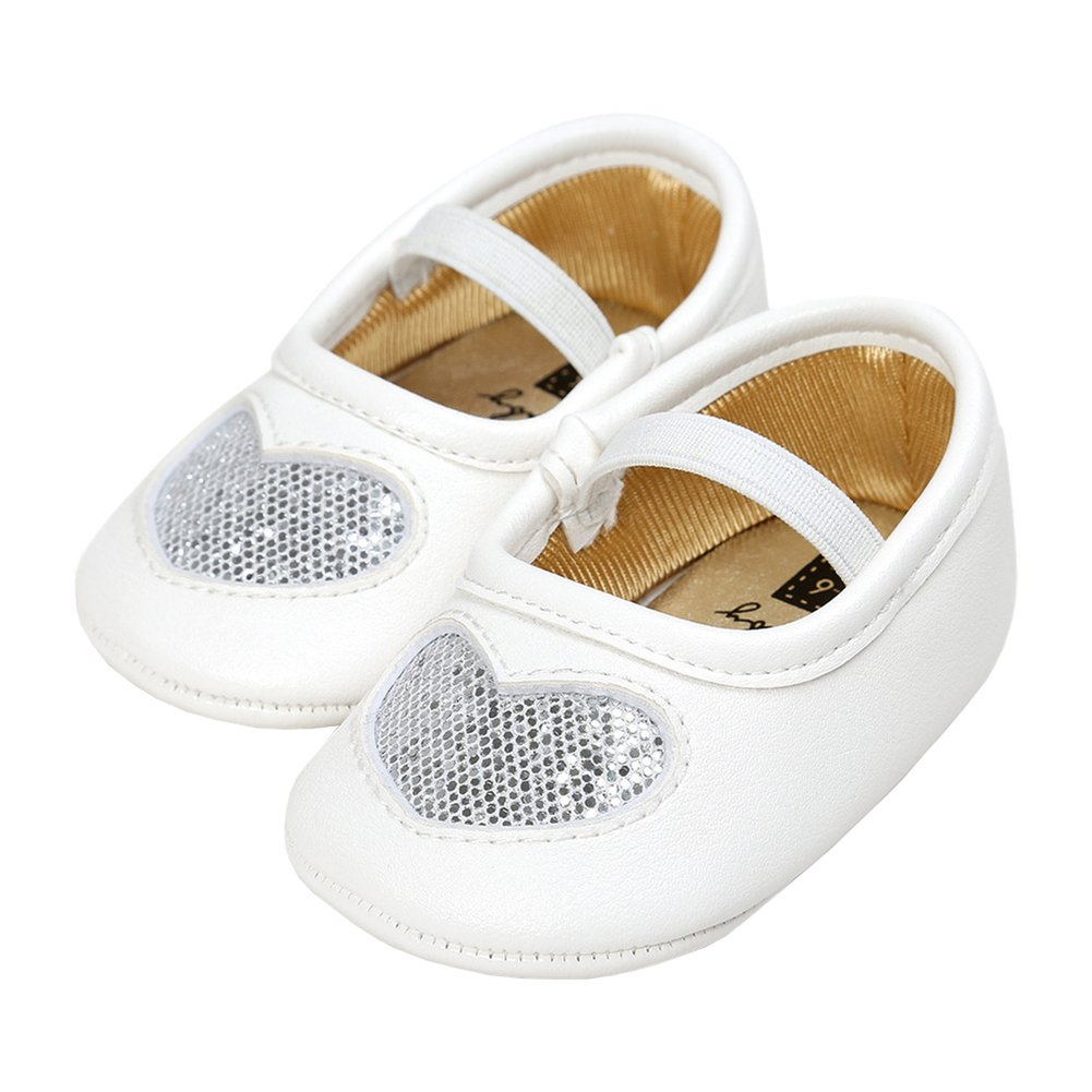 Baby Girls Sequins Heart Christening Baptism Mary Jane Wedding Princess Dress Shoes Crib Shoes Silver Size M