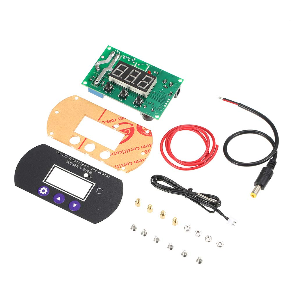 Festnight 12V 10A Pannello di controllo micro Termostato digitale regolabile per regolatore di incubazione Termometro elettronico di temperatura con regolatore di calore con sonda Sonda Tester