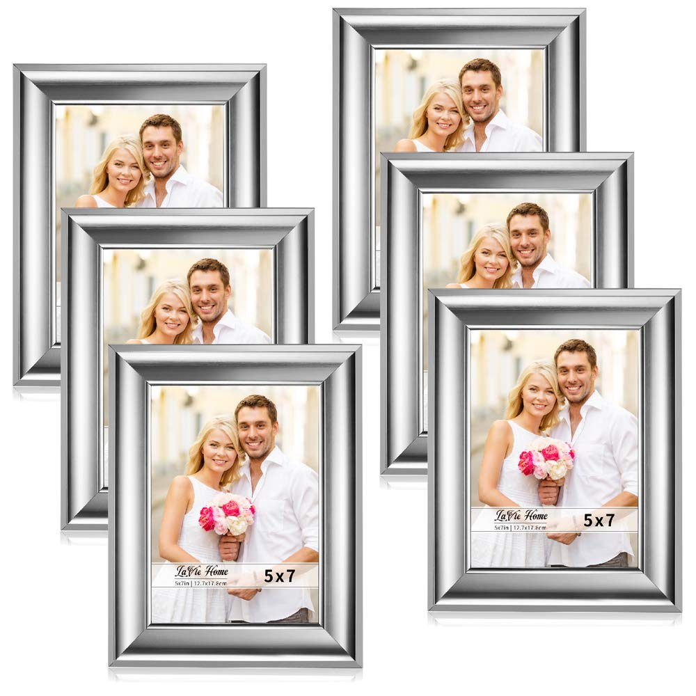 LaVie Home 5x7 Picture Frames(6 Pack,Silver) Photo Frame Set with High Definition Glass for Wall Mount & Table Top Display by LaVie Home