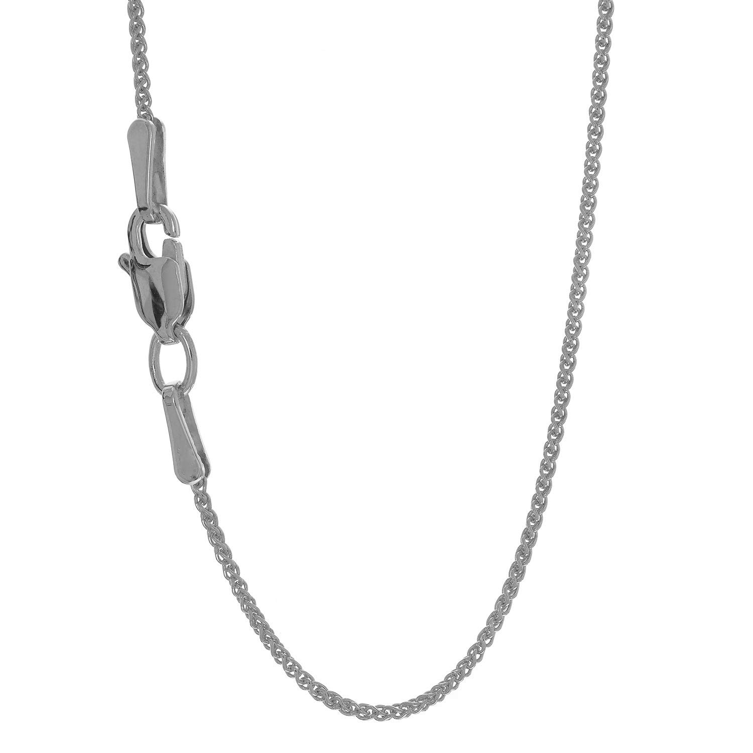 JewelStop 14k Solid White Gold 1.1 mm Spiga Wheat Chain Necklace, Lobster Claw Clasp - 18'', 2.2gr.