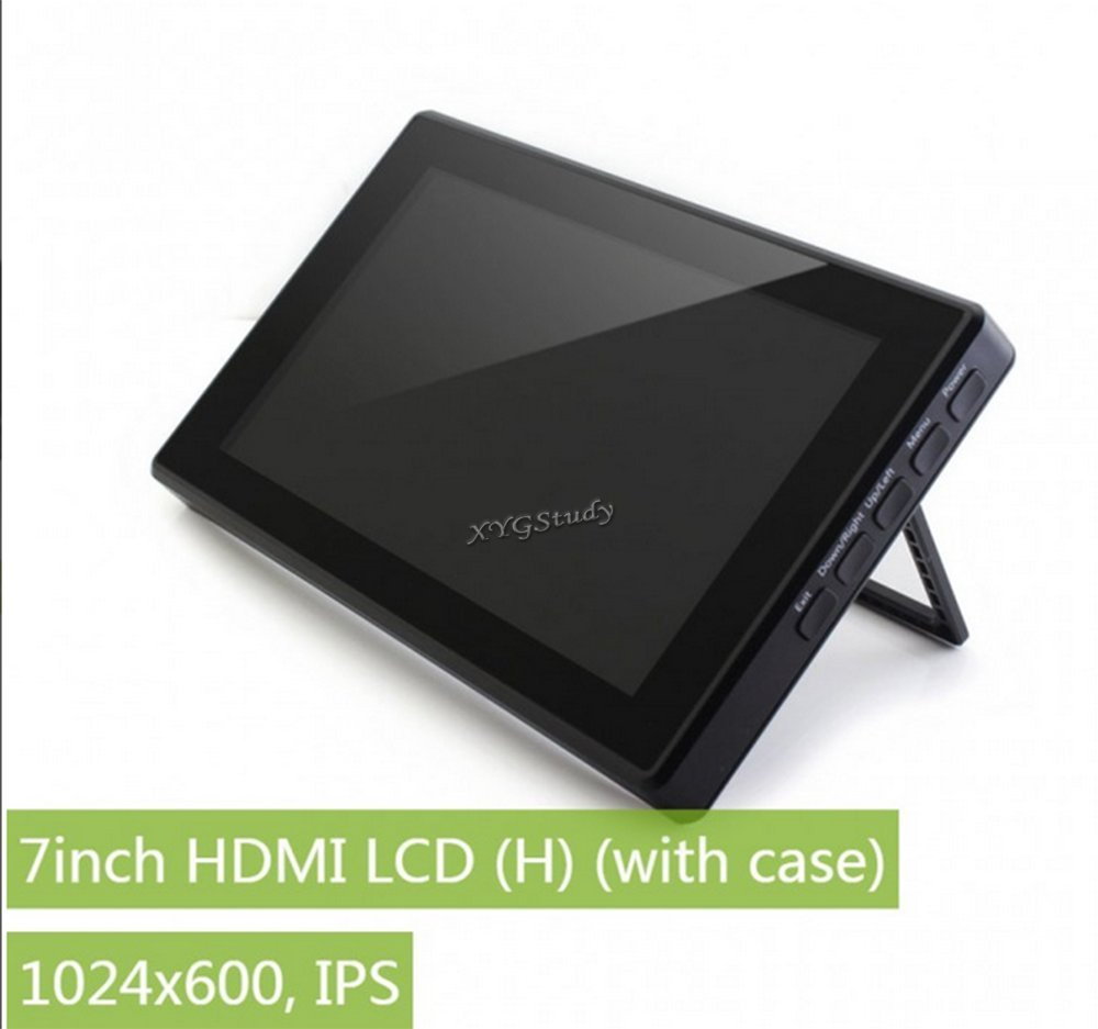 New 7 inch HDMI LCD (H) (with case), IPS Capacitive Touch Screen Display LCD with Toughened Glass Cover 1024x600 Supports Raspberry Pi, BB Black, Banana Pi mini PC @XYGStudy