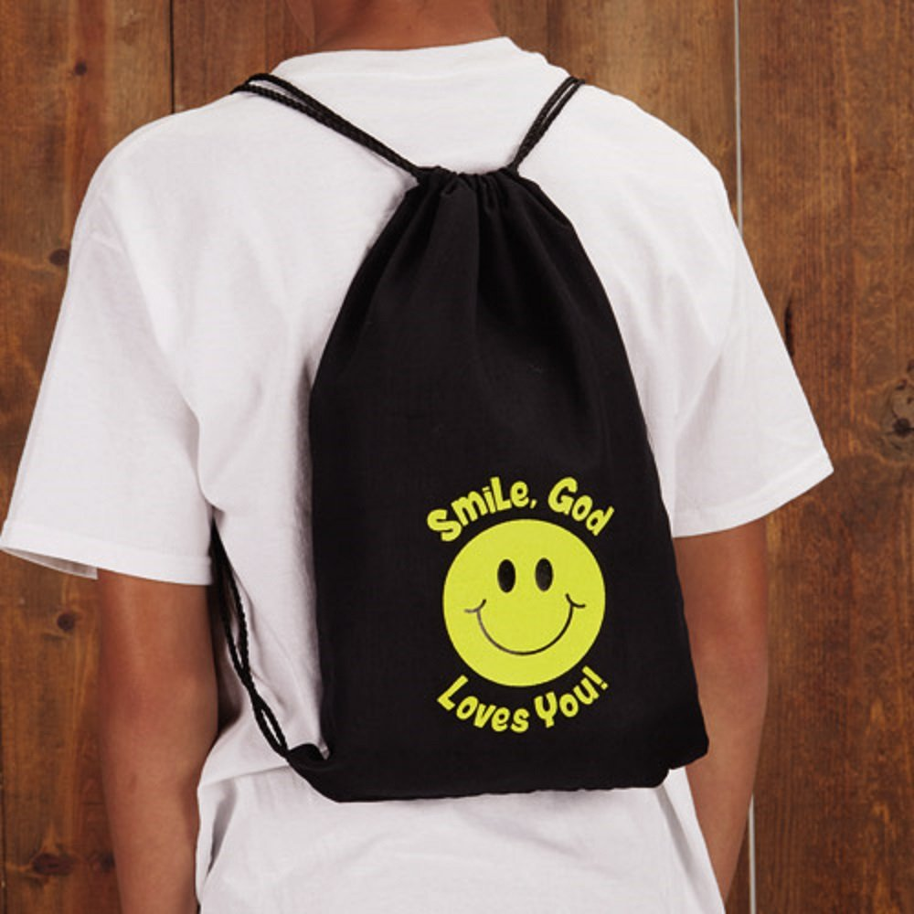 Smile, God Loves You! Drawstring Backpack - 12pk