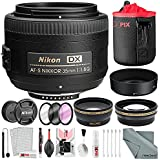 Nikon AF-S DX NIKKOR 35mm f/1.8G Lens, Deluxe Accessory Bundle W/52mm Wide-angle & Telephoto Lens + Filter Kit + Lens Pouch Xpix Professional Handling Accessories