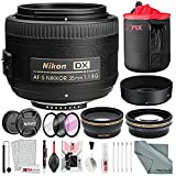Nikon AF-S DX NIKKOR 35mm f/1.8G Lens, Deluxe Accessory Bundle W/ 52mm Wide-angle & Telephoto Lens + Filter Kit + Lens Pouch Xpix Professional Handling Accessories