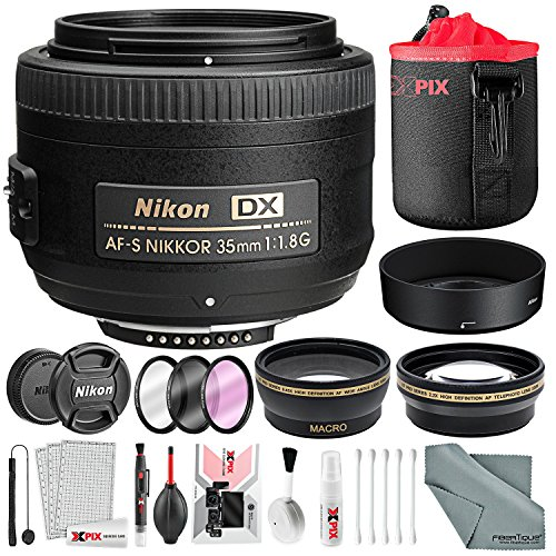 Nikon AF-S DX NIKKOR 35mm f/1.8G Lens, Deluxe Accessory Bundle W/ 52mm Wide-angle & Telephoto Lens + Filter Kit + Lens Pouch Xpix Professional Handling Accessories by Photo Savings