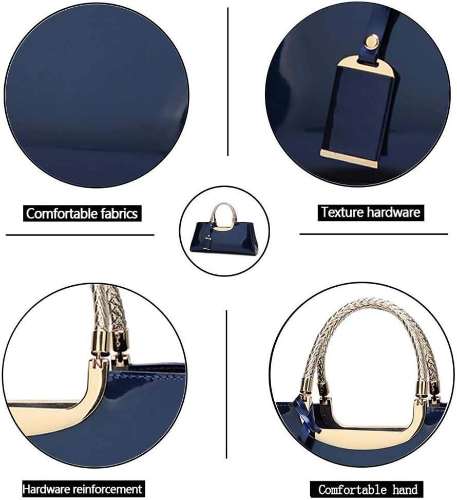 OhLt-j Borsa delle Signore, Pelle Verniciata di Modo Lucido Spalla Casuale Messenger Bag Portafoglio Selvaggio (Colore: Blu) (Color : Black) Blue