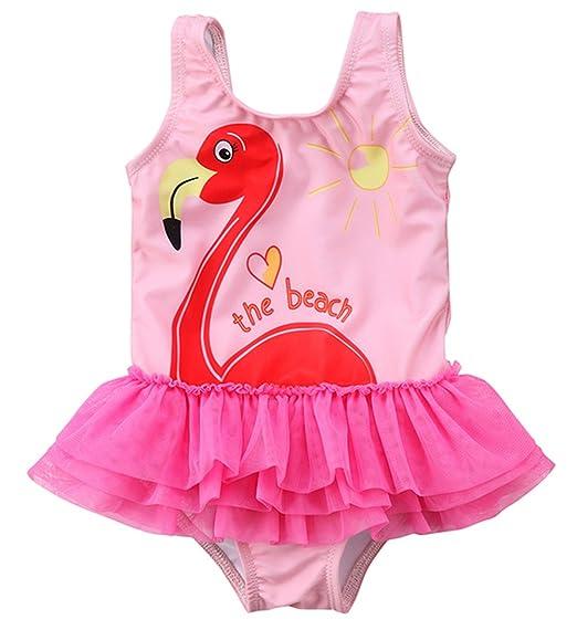 eae55e43ae stylesilove Little Girl Pink Swan Love The Beach Ballerina Tutu One-Piece  Swimsuit (36