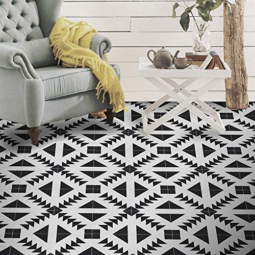 (Moroccan Mosaic & Tile House CTP60-01 Tadla Handmade Cement Tile in Black and White, Pack of 12 8