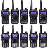 JUENTAI JT-UV71 10-KM Range FRS/GMRS Dual-band Two Way Radios Walkie Talkies (Black,Set of 10)