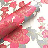 BESTERY Vintage Floral Self-Adhesive PVC Contact Paper Shelf Liner Peel & Stick Dresser Drawer Sticker Home Deco 17.7inch by 118inch (Red)