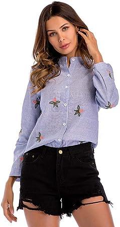 Cnsdy Camisa de Rayas para Mujer Camisa de Manga Larga ...