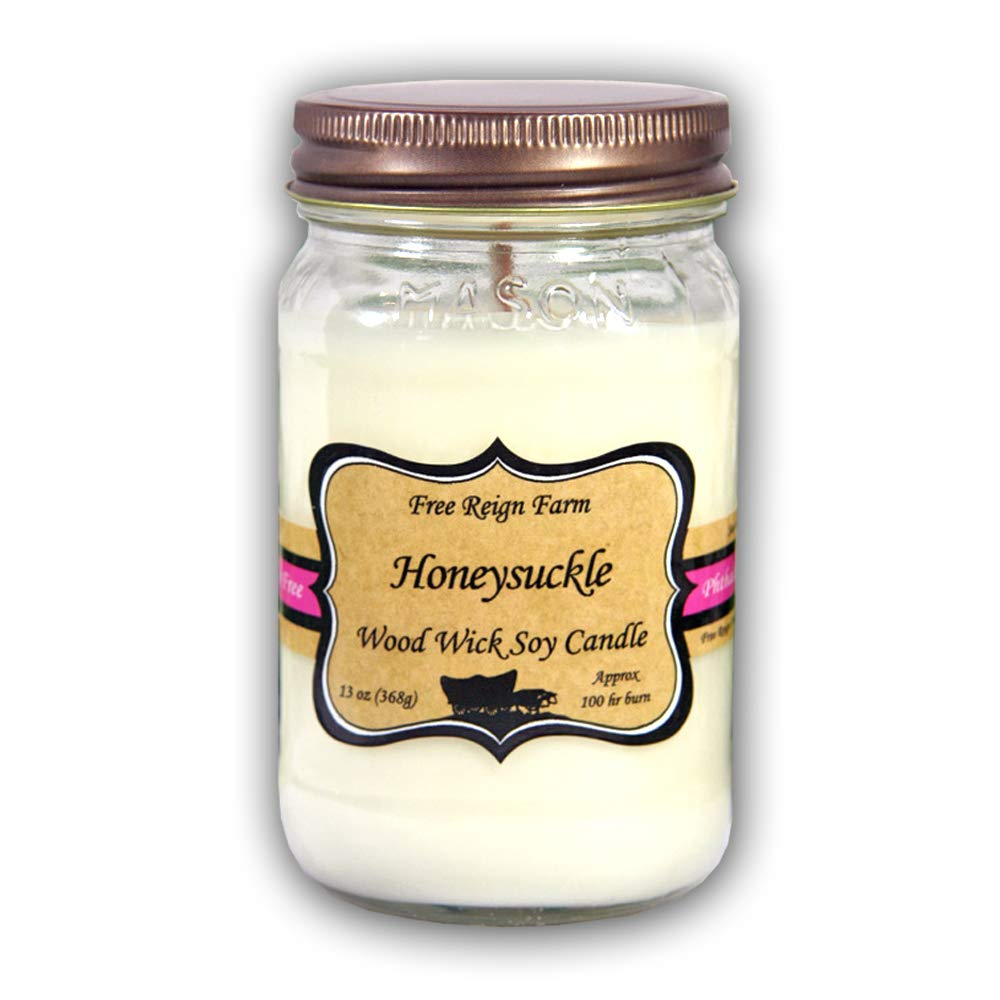 Free Reign Farm, Scented Wood Wick Glass Mason Jar Candle, 100% Pure Soy, 13 oz. Phthalate Free, Extended Burn Time (Honeysuckle, 2)