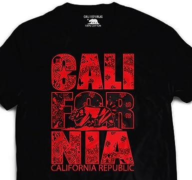 8b0cda6c Image Unavailable. Image not available for. Color: California Stacked Red  Rag Bandana T shirt Paisley Print Northern Nor Cali CAL