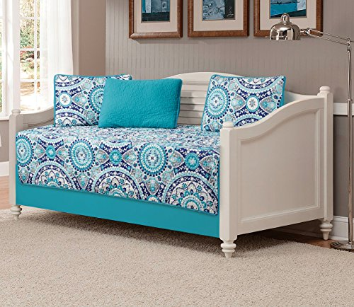 Mk Collection 5pc Daybed quilted Floral Turquoise Teel Blue Grey new - Collection Bedding Daybed