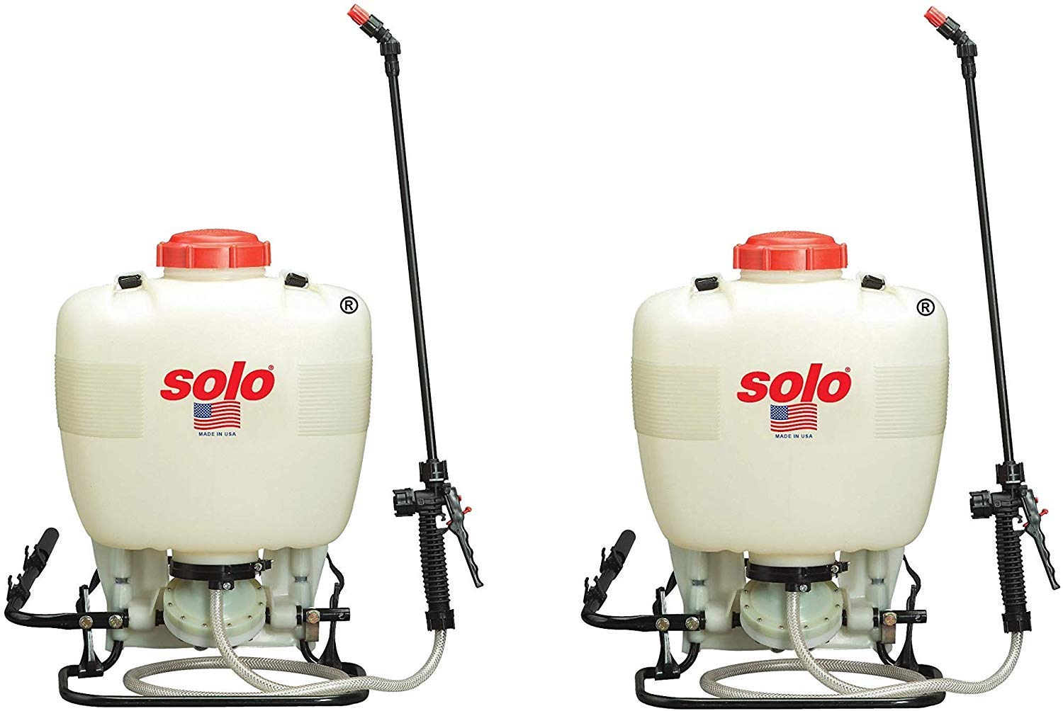SOLO 475-B Diaphragm Pump Backpack Sprayer, 4-Gallon, Bleach Resistant Pump Assembly (Pack of 2) by SOLO