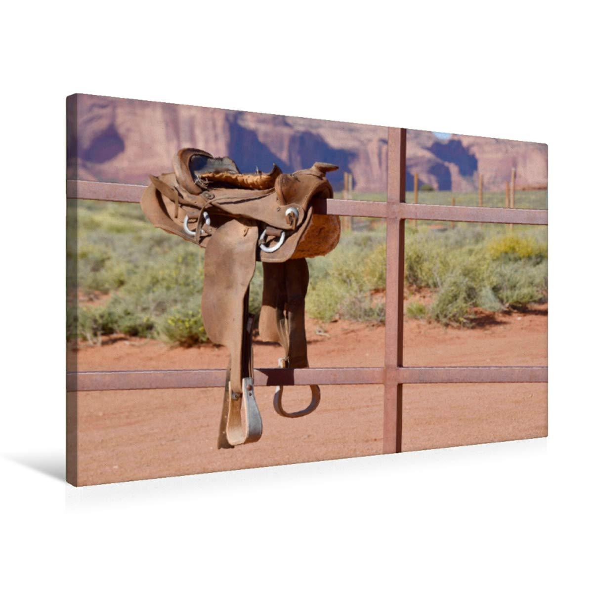 75x50 Premium Textile Canvas 90 x 60 cm Landscape Western Saddle