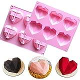 2 moldes de silicona con forma de corazón en forma de diamante 3D, antiadherente, para hornear pan, molde para hornear tartas