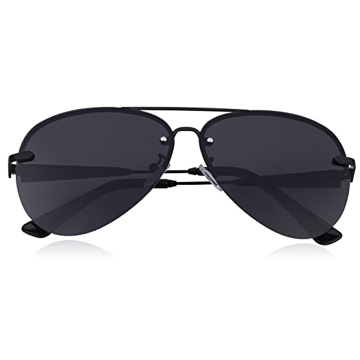 ad3c0720aeb Premium Military Style Rimless Classic Aviator Sunglasses for Men - Driving  Sunglasses