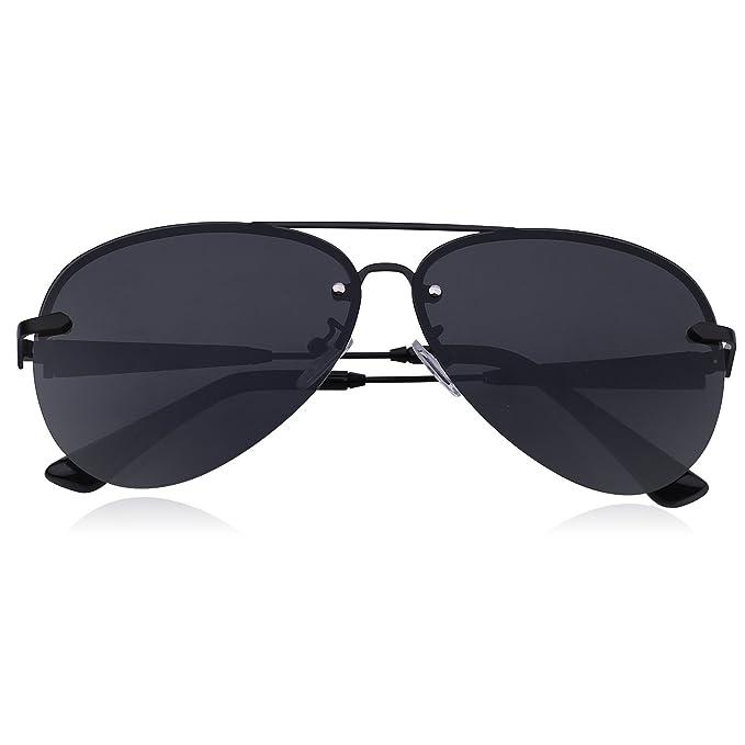 91c86b5b328f Premium Military Style Rimless Classic Aviator Sunglasses for Men - Driving  Sunglasses, Polarized, 100