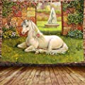 DBLLF Unicorn Garden Tree Tapestry Medieval Garden Building Fountain Tapestry Green Lawn and Castle Wall Hanging for Living Room Dorm Decor 80X60 Inches DBLS832